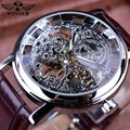 Ganador Caja Transparente de Plata Royal Talla Skeleton Correa De Cuero Marrón Reloj de Los Hombres de Primeras Marcas de Lujo Mecánico Reloj Reloj