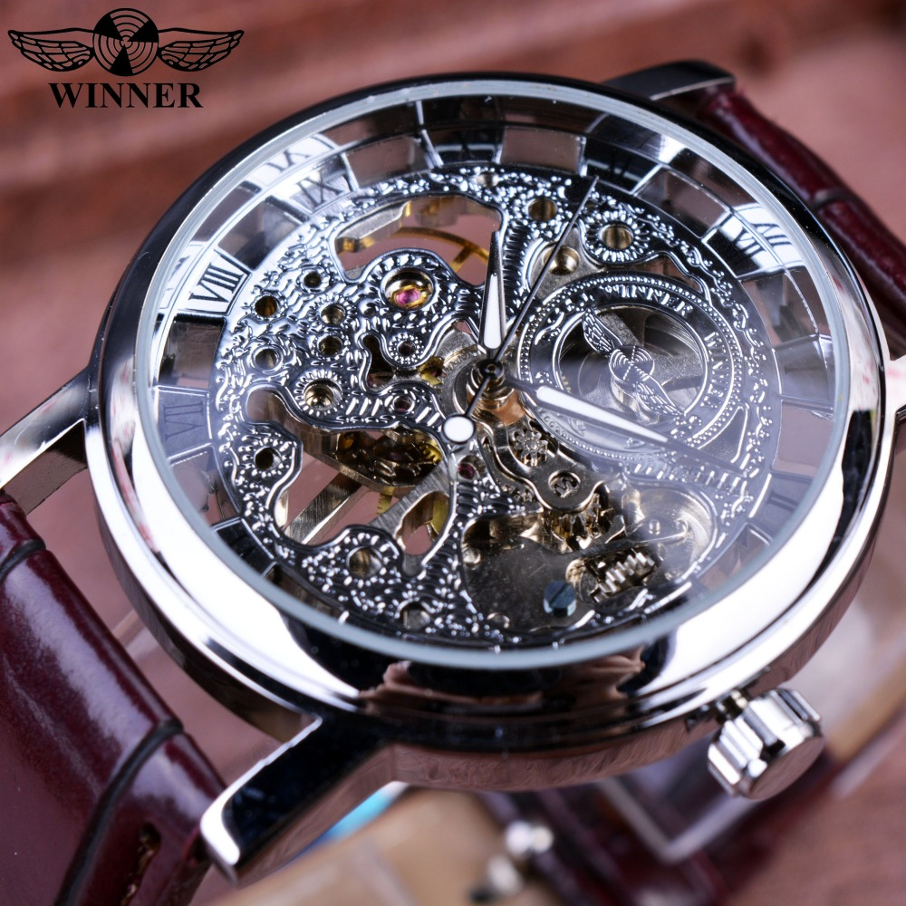 Winner Royal Carving Skeleton Brown Leather Strap Silver Case Transparent Case Men Watch Top Brand Luxury Mechanical Watch Clock winner transparent golden case luxury casual design brown leather strap mens watches top brand luxury mechanical skeleton watch