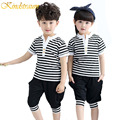 Kindstraum 2017 Brand Summer Clothing Sets Kids Girls & Boys Striped T shirt Cotton + Harem Pants Kids Summer Casual Suit, MC407