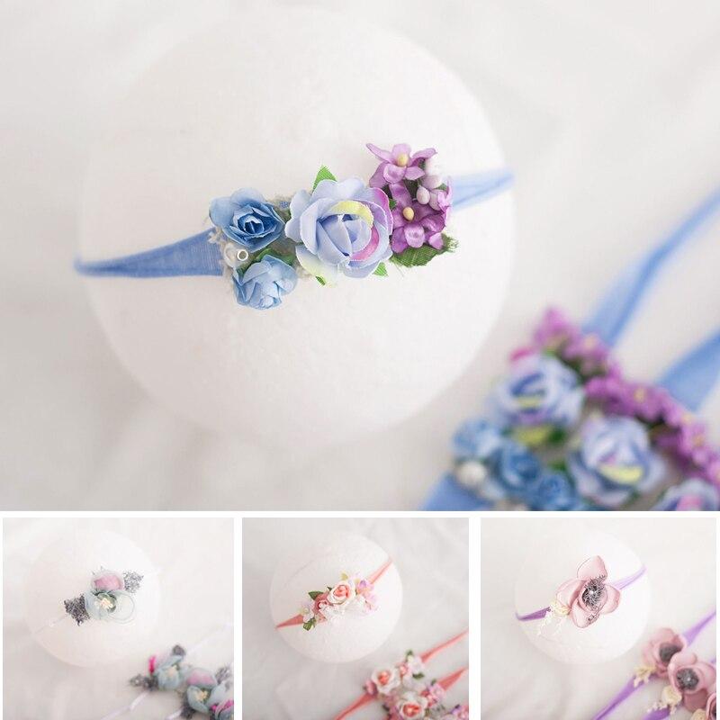 Baby Girl opaski łuki kwiaty elastyczne Bebe włosy niemowlaka akcesoria dla noworodka fotografia rekwizyty nakrycia głowy