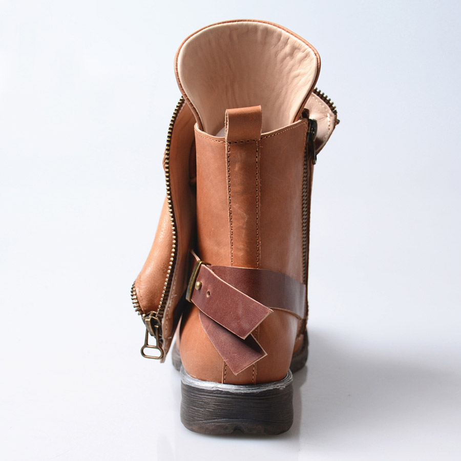 Viejo In In Remache Perfetto brown Mujeres De Plush A Prova Alta Brown Plataforma Leather Las Cuero Plana Calidad Cortas Botas Diseño Genuino Motocicleta OIHxAwBA