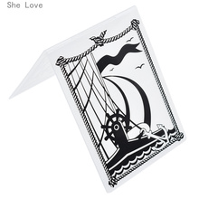 She Love Sailing Boat Plastic Template Embossing Folder For