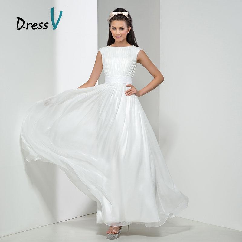 Cheap White Chiffon Bridesmaid Dresses 2017 Long Maid Of