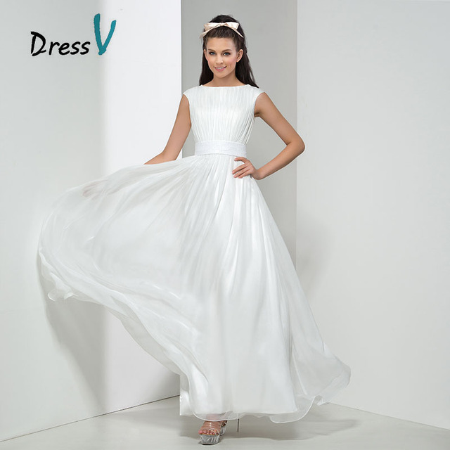 White Chiffon Bridesmaid Dresses 2017 Long Maid Of Honor Gowns Cap Sleeves Wedding Party Beach