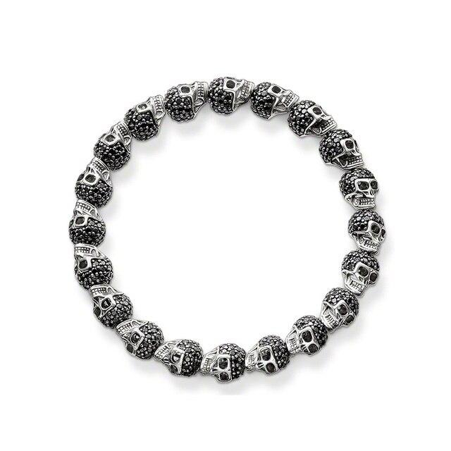 TS Rhinestone Paved Skulls Karma Beads Bracelet, Black Zirconia Skeleton Bracelets, Thomas Style Heart of Rebel Jewelry For Men