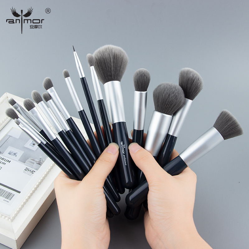 Anmor New Make Up Brushes Set 15 PCS Professional Makeup Brushes Synthetic Hair Foundation Powder Blush Eyeshadow Brush Set