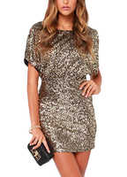 Sexy Women Sparkling Sequin Dress Split O-Neck Short Sleeves Bodycon Shiny Dress Clubwear female Evening Party Mini Dresses 2019