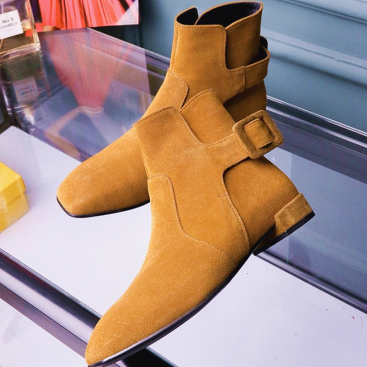 ФОТО 34-41Women 's Boots 2016 Fashionable leisure buckle breathable comfortable real leather suede square head shoes