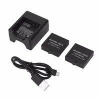 3 85V 1400mAh USB Dual Charger With 2 PCs Battery For XiaoMi Yi 2 II 4K