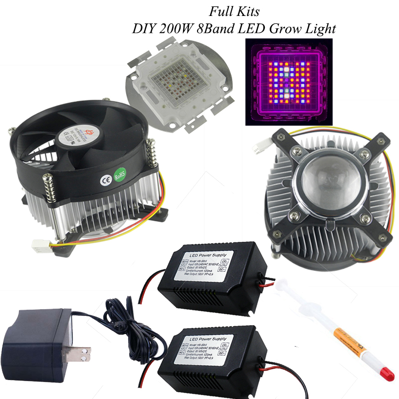 DIY Hydroponic 8band 200w led grow lighting system 200w full spectrum led +power supply+ radiator+cooler+ lens easy awesome