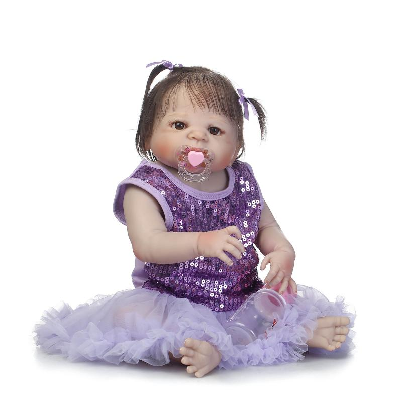 57cm Full Silicone Body Reborn Baby Girl Doll lifelike baby dolls Bebe Reborn Babies Toddle Play House Bath Toy Brinquedos Gifts health non toxic bebe reborn realista new born full body silicone reborn baby dolls girls lifelike doll play house toy gift doll
