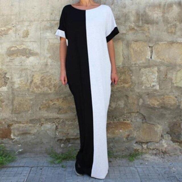 955153f017e6 ilstile BOHO Vintage Women Oversized Long Maxi Dress Short Sleeve O-Neck  Casual Loose Kaftan Abaya Summer Beach Holiday Sundress