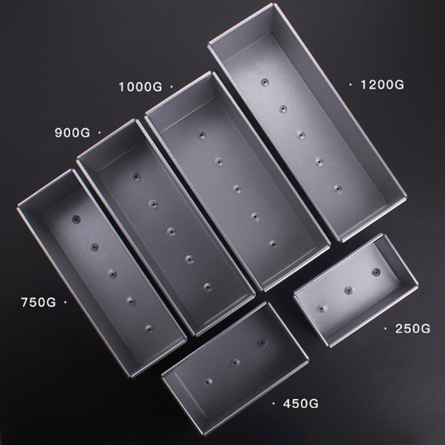 250g/450g/750g/900/1000/1200g Aluminum Alloy Toast boxes Bread Loaf Pan cake mold baking tool with lid