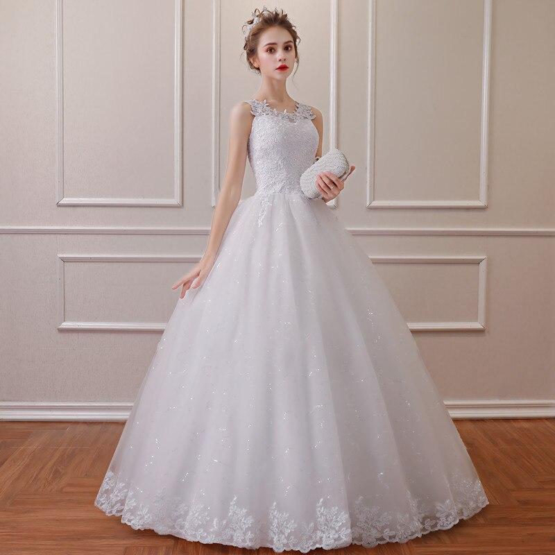 QQ Lover 2019 New O-Neck Lace Wedding Dress Vestido De Noiva Bridal Wedding Gowns