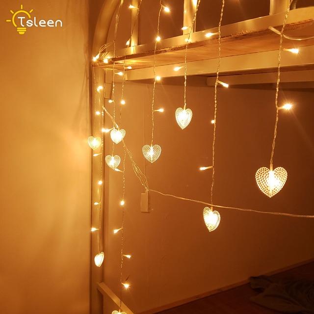 Led Garland String Fairy Lights Snowflake Chritsmas Tree Heart Star Shape For New Year Christmas Valentines Wedding Decoration