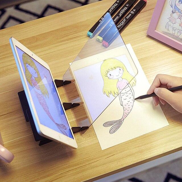 Conjunto de arte de painel infantil, espelho de rastreamento e desenho para crianças, brinquedo para cópia de artesanato, painel para esticar, pintura e animação ferramenta de arte suprimentos
