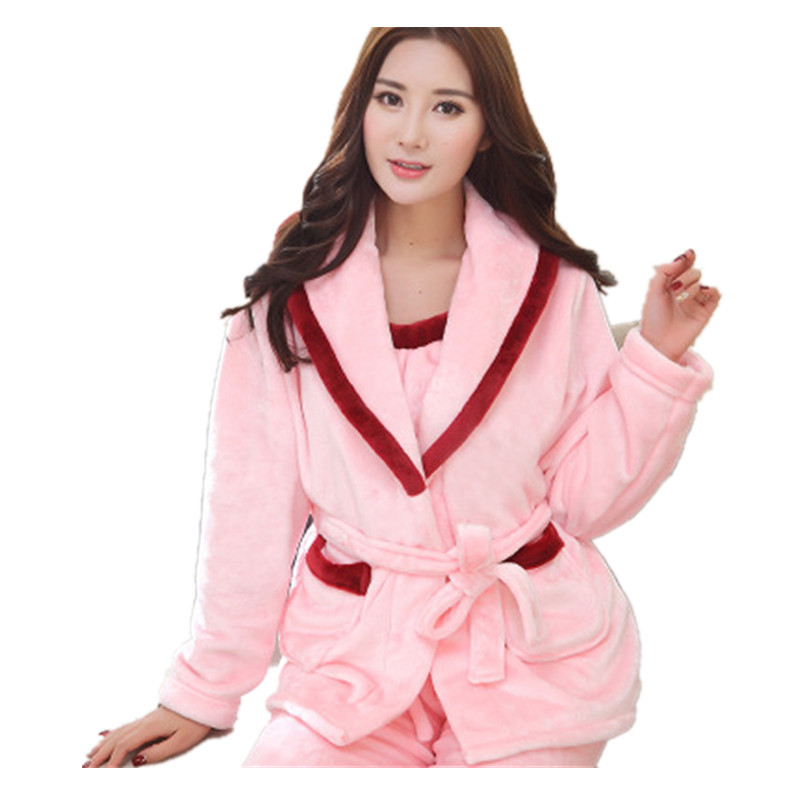 64be8e3e48 3Pcs Underwear+Tops+Pants Flannel Female Winter Pajamas Thick Flannel  Sleepwear Long Sleeved Family