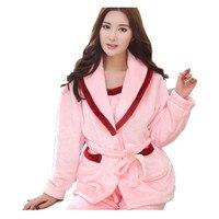 3Pcs Underwear Tops Pants Flannel Female Winter Pajamas Thick Flannel Sleepwear Long Sleeved Family Pajama Set