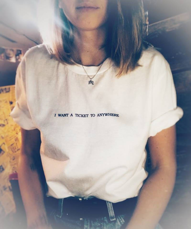 """Camiseta con estampado de """"quiero un billete a cualquier lugar y viaje"""" para mujer, camiseta divertida informal de algodón para mujer, camiseta Hipster, Y 69 Camisetas  - AliExpress"""
