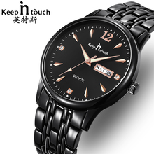 KEEP IN TOUCH Business Black Men Watch Stainless Steel Calendar Luminous Waterproof Mens Watches Top Brand Relogio Masculino