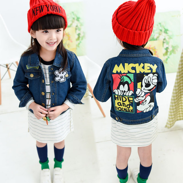 2016 Autumn girls jeans jacket girls outerwear coat mickey clothes fashion denim jackets for girl denim coats Denim Girls Jacket