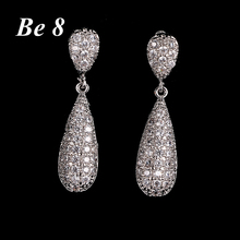 Be8 Brand Micro Inlaid Shiny AAA Cubic Zirconia Drop Earring Beautiful Birthday Present for Women Christmas Gifts Jewelry E-200 be8 brand high quality cubic zirconia pearl earring new fashion gold color jewelry drop earring for women christmas gifts e 251