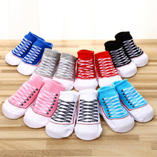 Новые милые хлопковые нескользящие носки-тапочки с фальш-вставкой для новорожденных мальчиков и девочек от 0 до 12 месяцев