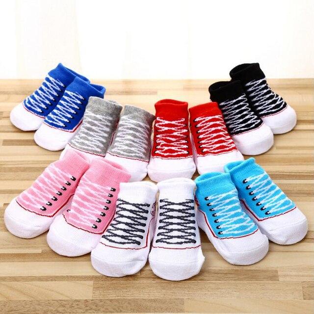 5830a3d0cff1f Nouveau mignon coton nouveau-né bébé infantile Bebe Anti slip faux Converse  chaussure de sol