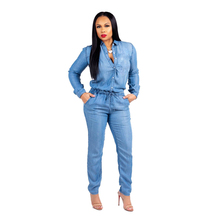 44f7ac3ade47 2018 Retro Women Cowboy Demin Jumpsuit Long Sleeve Turn Down Neck Blue  Bandage Elastic Waist Overall