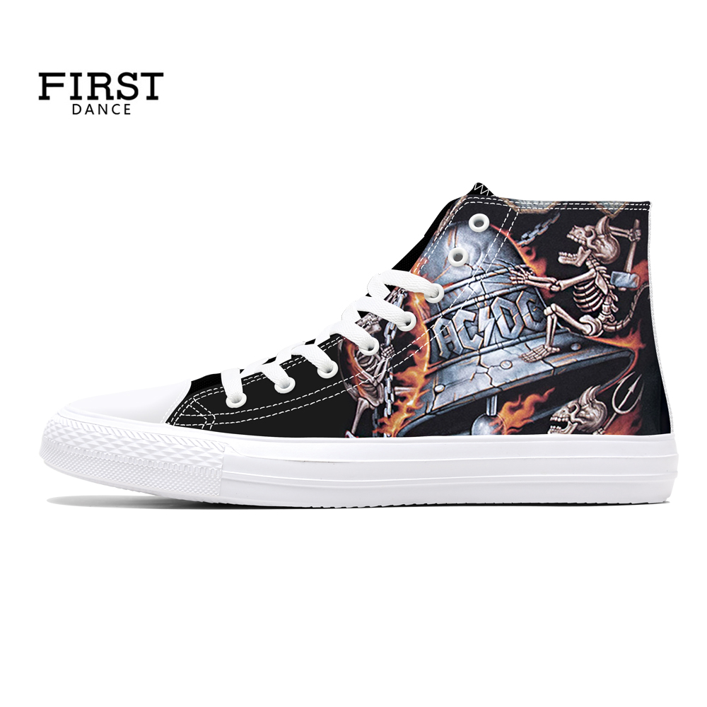 FIRST DANCE 2018 Spring Skull Printed High top Shoes Mens Rock Street Hip Hop Casual Canvas