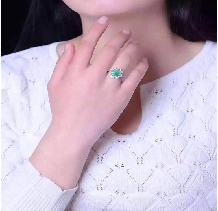 Emerald ring Real and natural Emerald 925 sterling silver Fine women jewelry emerald ring free shipping natural real emerald 925 sterling silver 4 6mm fine jewelry