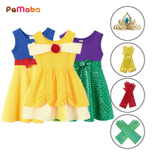PaMaBa Summer Breathable Child Princess Snow White Dress with Headband Gloves Girl Fancy Minne Frock Cheap Cosplay Party Clothes