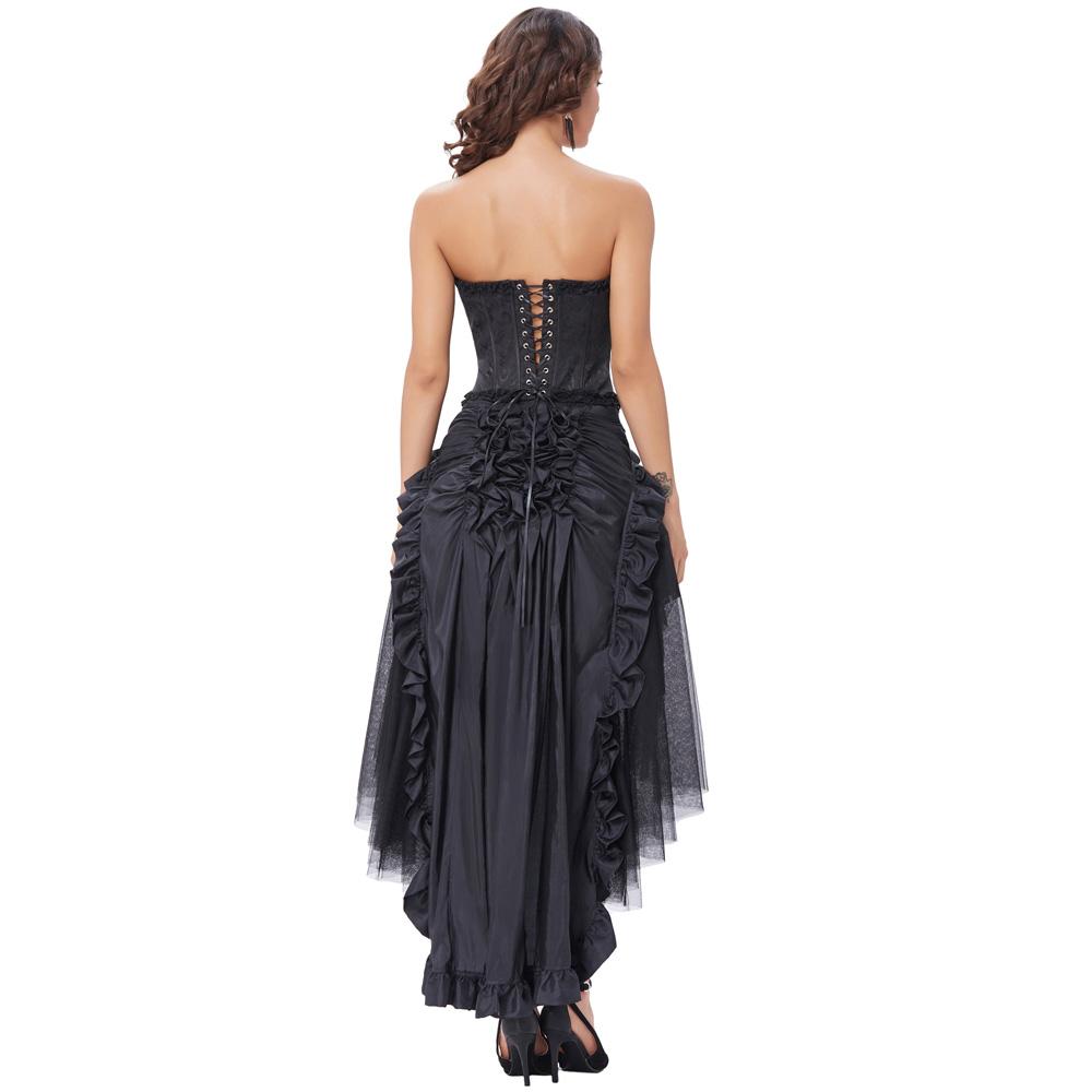 8f1503fdf Belle Poque 2018 Vintage negro Faldas largas Mujer verano Retro victoriana  Lolita Punk volantes Sexy Rockabilly fiesta gótica falda