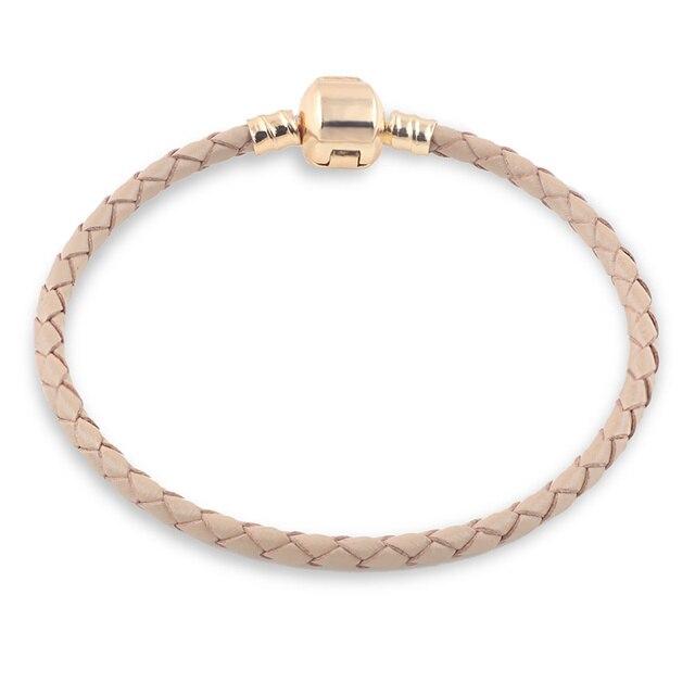 Złoty brązowa prawdziwa skóra bransoletka łańcuch nadające się do Charms bransoletki DIY Metal pasuje do ze stopu szkła europejski koralik z dużym otworem