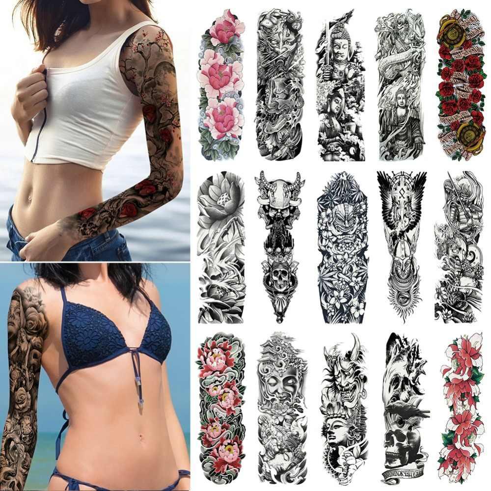 Naklejka tatuaż tymczasowa na całe ramię damska męska, wodoodporna, duża czaszka, Old School Tatoo, naklejki Flash, fałszywe tatuaże dla kobiet mężczyzn #288345