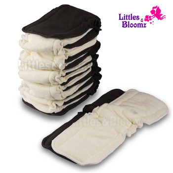 [Littles&Bloomz] Baby Bamboo Reusable Cloth Diaper Inserts Charcoal Washable Nappy Liners 5 Layers Changing For Cover - discount item  18% OFF Diapering & Toilet Training