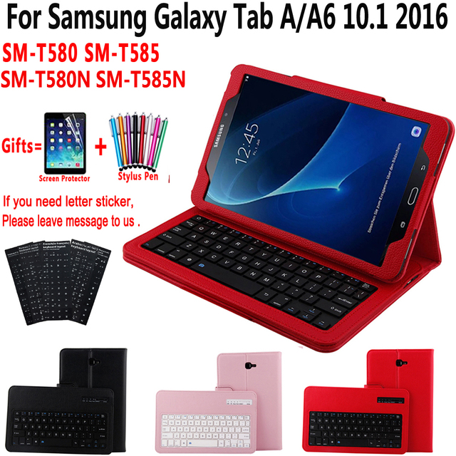 new product 12bf4 77633 US $22.4 20% OFF|Detach Wireless Bluetooth Keyboard Case Cover for Samsung  Galaxy Tab A A6 10.1 2016 T580 T585 T580N T585N With Screen Protector-in ...