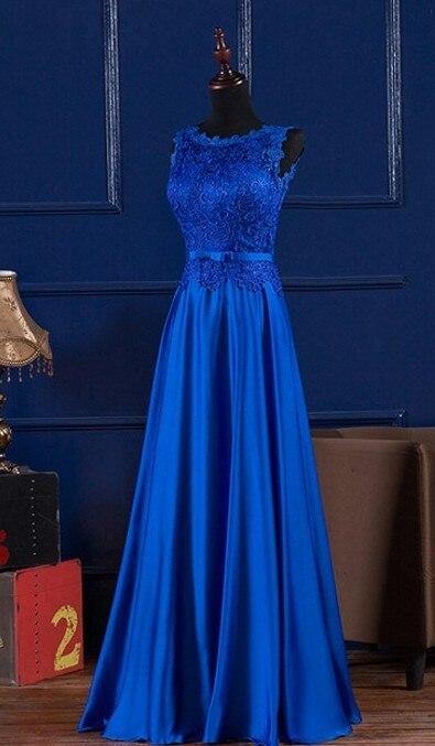 Kadın Giyim'ten Elbiseler'de Zarif Kraliyet Mavi/Şarap Kırmızı Scoop Dantel Saten Uzun Elbise Düğün Için Parti Yaz Balo Abiye giyim Maxi Elbiseler vestidos'da  Grup 3