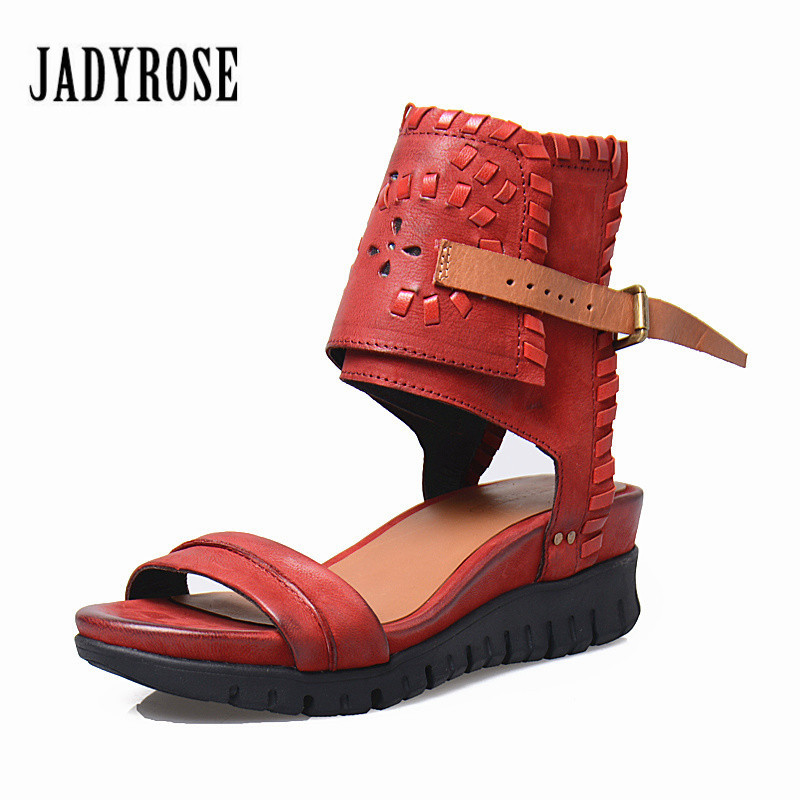 Jady Rose Leisure Style Open Toe Women Genuine Leather Sandals Thick Heel Comfortable Sole Wedge Shoes Female Platform Pumps candy color genuine leather vintage style women casual sandals 2017 designer open toe platform wedge handmade summer shoes