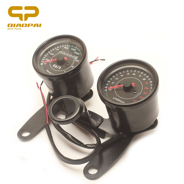 Universal Motorcycle Odometer Mechanical Electron Dual Instrument LCD  Backlight Speedmeter for Honda Cg125 GN125 Retro Vintage