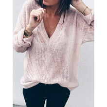 Осенний Женский вязаный свитер с глубоким v-образным вырезом, топы, повседневный свободный свитер больших размеров, пуловеры для женщин