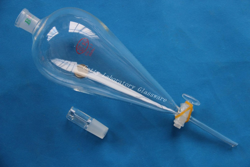 1000mL (1L) Pyriform Separatory funnel, dropping funnel with straight tip out for drip,24/29 joint, Glass Stopcock 500 ml separatory funnel with glass stopper 24 40 joint ptfe stopcock seperatory funnel