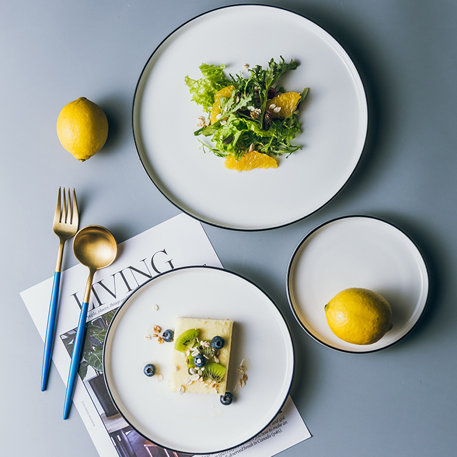 Керамические тарелки и тарелки MUZITY, Белый Круглый Обеденный набор, фарфоровая тарелка для стейка 6/8/10 дюймов