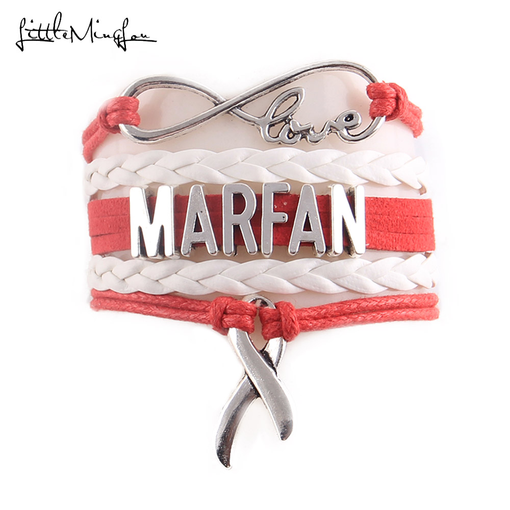 Little MingLou Infinity Love Hope Ribbon Charm MARFAN bracelet medical Awareness men wrap bracelets & bangles for women jewelry|Charm Bracelets|   - AliExpress