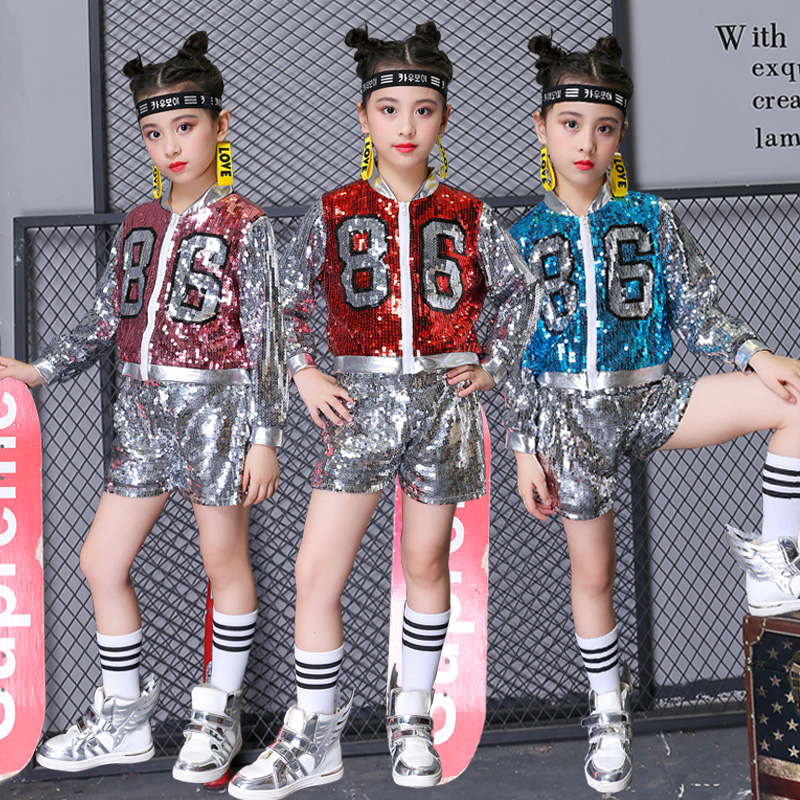 Hip Hop Costume Sequined Jacket Shorts Children Cheerleader Clothing Girls Jazz Dance Wear Street Dancing Show Outfit DN2948