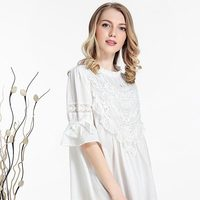 New Women Lace Princess Gowns Female Summer Casual Lace Floral Patchwork Nightgown Lady Elegant Sleep Dress