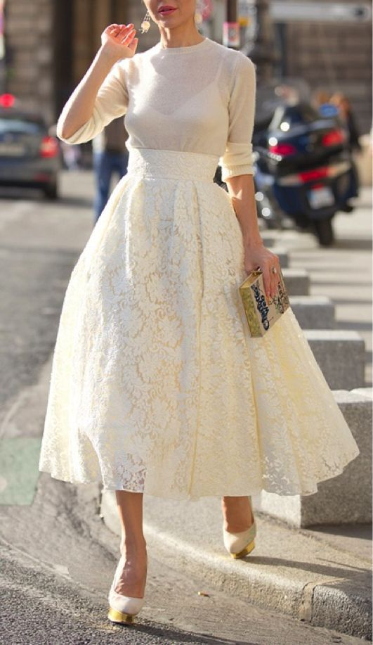 Long White Lace Skirt - Skirts