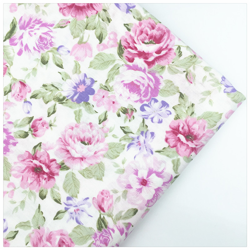 Syunss,Pink Rose Print Cotton Fabric DIY Tissu Patchwork Telas Sewing Baby Toy Bedding Home Textile Quilting Cloth Craft Tecido