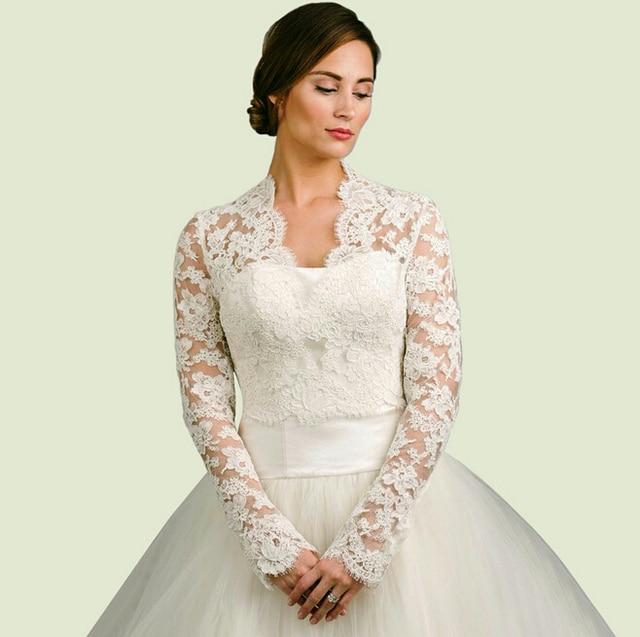 Long Sleeve Wedding Wrap/Jacket White& Ivory Lace Bridal Wrap ...