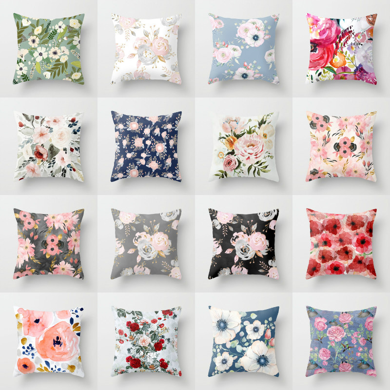 Elife Green Leaves Rose Linen Cotton Cushion Case Flower Painting Polyester Home Decor Bedroom Decorative Sofa Throw Pillows